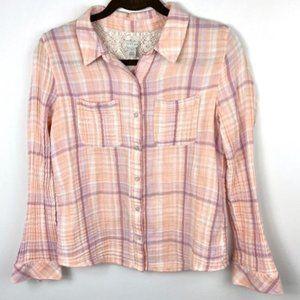 Hinge Peach Lace Plaid Super Soft Flannel Shirt S